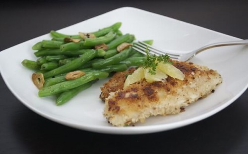 Pecan Crusted Tilapia with Garlicky Green Beans