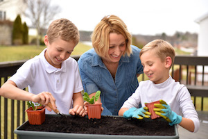 Mandy and Boys planting vegetables